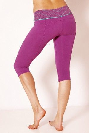 """$35 Our Refresh crop legging is your perfect companion for summer! Made from our exclusive breathable Eco-Luxury support jersey, this pant gives you optimum support & comfort. The waistband has a contrast waterbased stripe with original water-based print, with contrast piping & logo embroidery detail. With curved back yoke & inset seams to shape & flatter. 15"""" inseam with curved hem at leg. Fitted. Organic Yoga Clothing LiveBreatheYoga.com"""