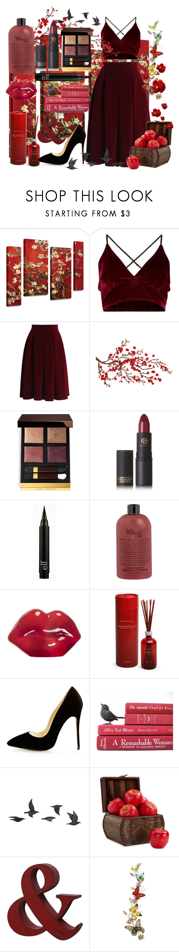 """A Velvet Secret"" by ambermarie-b ❤ liked on Polyvore featuring Chicwish, Brewster Home Fashions, Tom Ford, Lipstick Queen, Kosta Boda, Archipelago Botanicals, Jayson Home, Nearly Natural and Benzara"