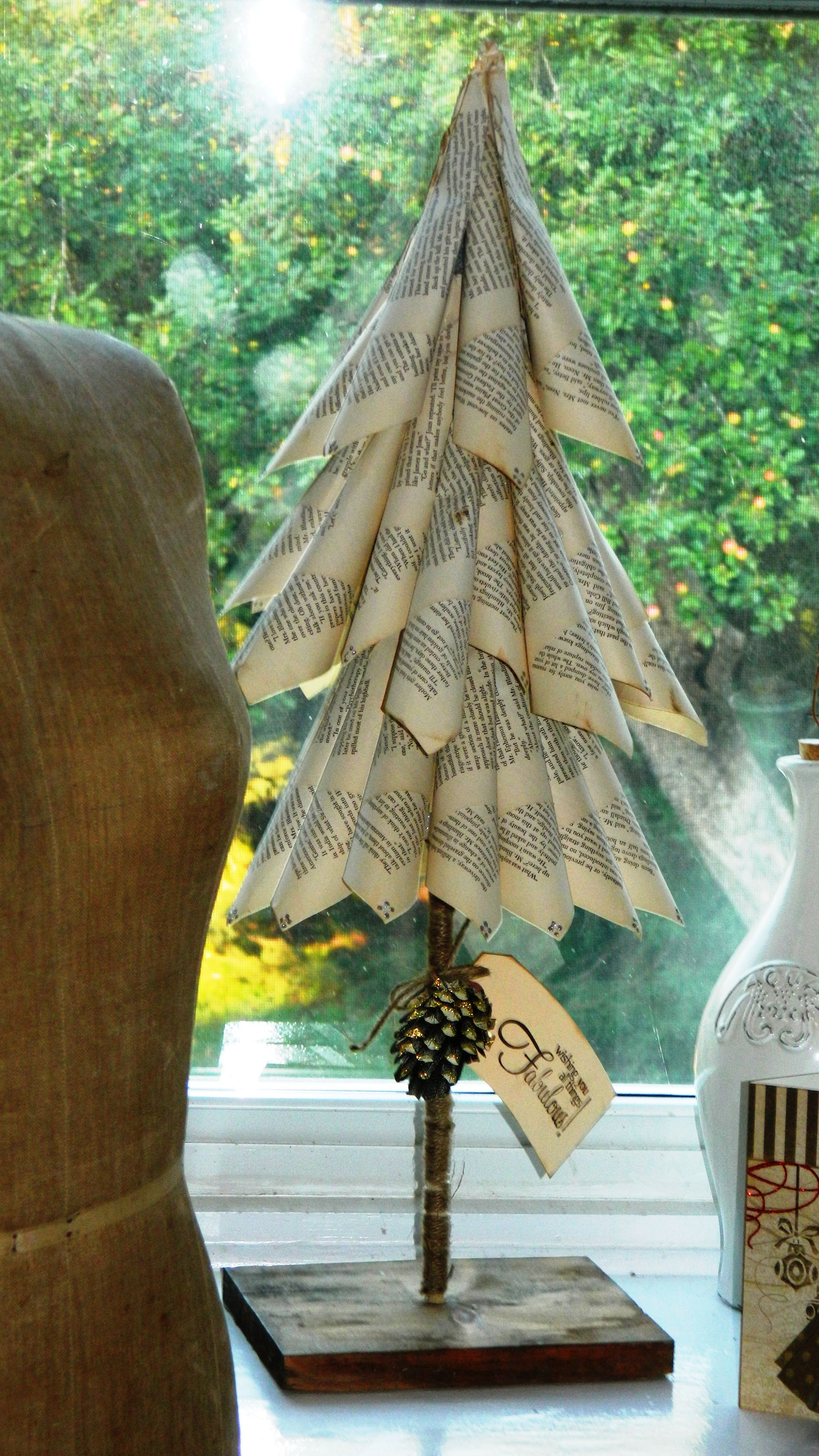 christmas tree from book pages