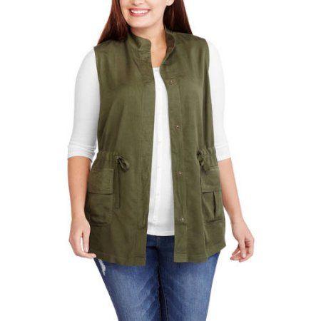 plus size whoa, wait women's plus cargo vest, size: 3xl, green