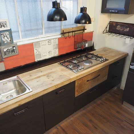 cucina lineare industrial colonne dispensa e forno in ...