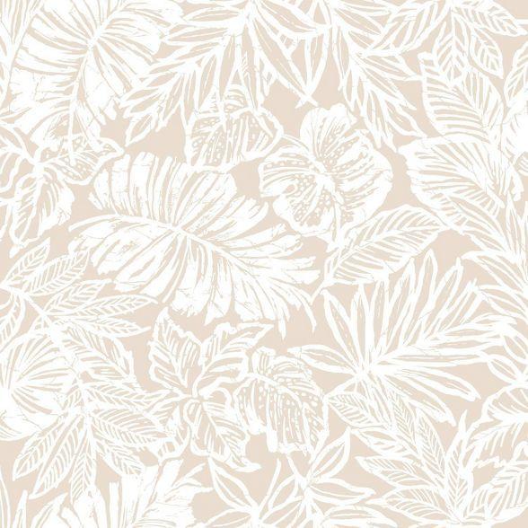 Roommates Batik Tropical Leaf Peel Stick Wallpaper Beige In 2021 Peel And Stick Wallpaper Wallpaper Tropical Leaves