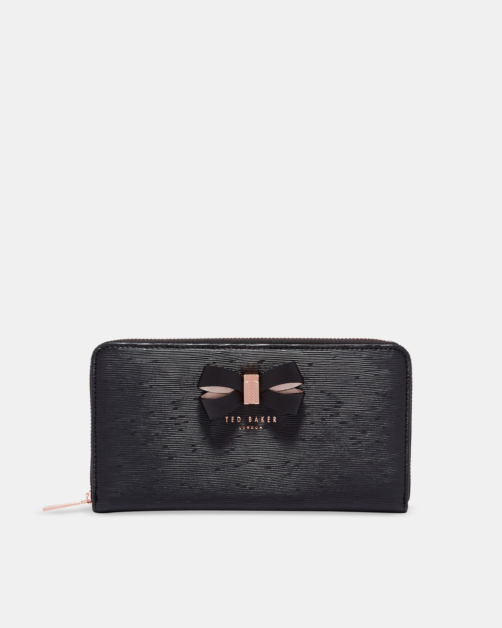 217e2ddaa Ted Baker Bow detail leather matinee purse Black