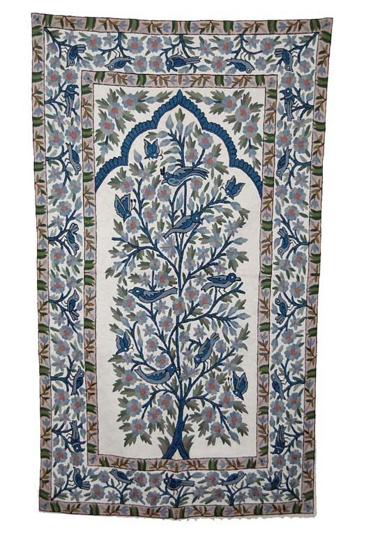 Chain Sch Embroidered Wool Rug Multicolor Embroidery 3x5 Feet Cwr15103