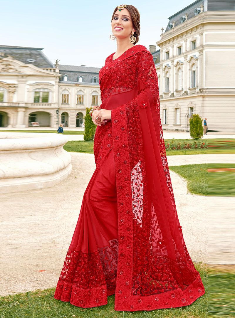 c51475d409c Red Net Party Wear Saree 94508