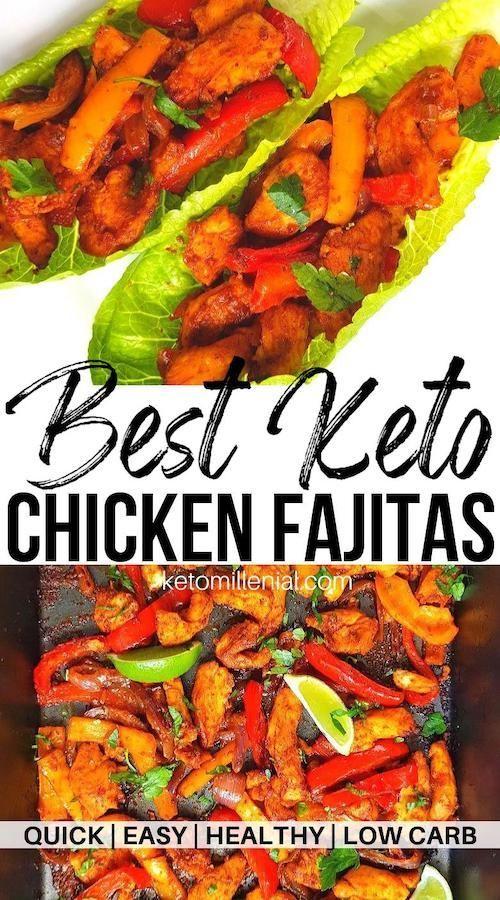 Best keto fajita chicken with authentic homemade keto fajita seasoning. These lettuce wrap chicken fajitas are super low carb at only 5 grams of net carbs per serve! Try an easy chicken fajita without tortilla wraps today! #recipeforchickenfajitas