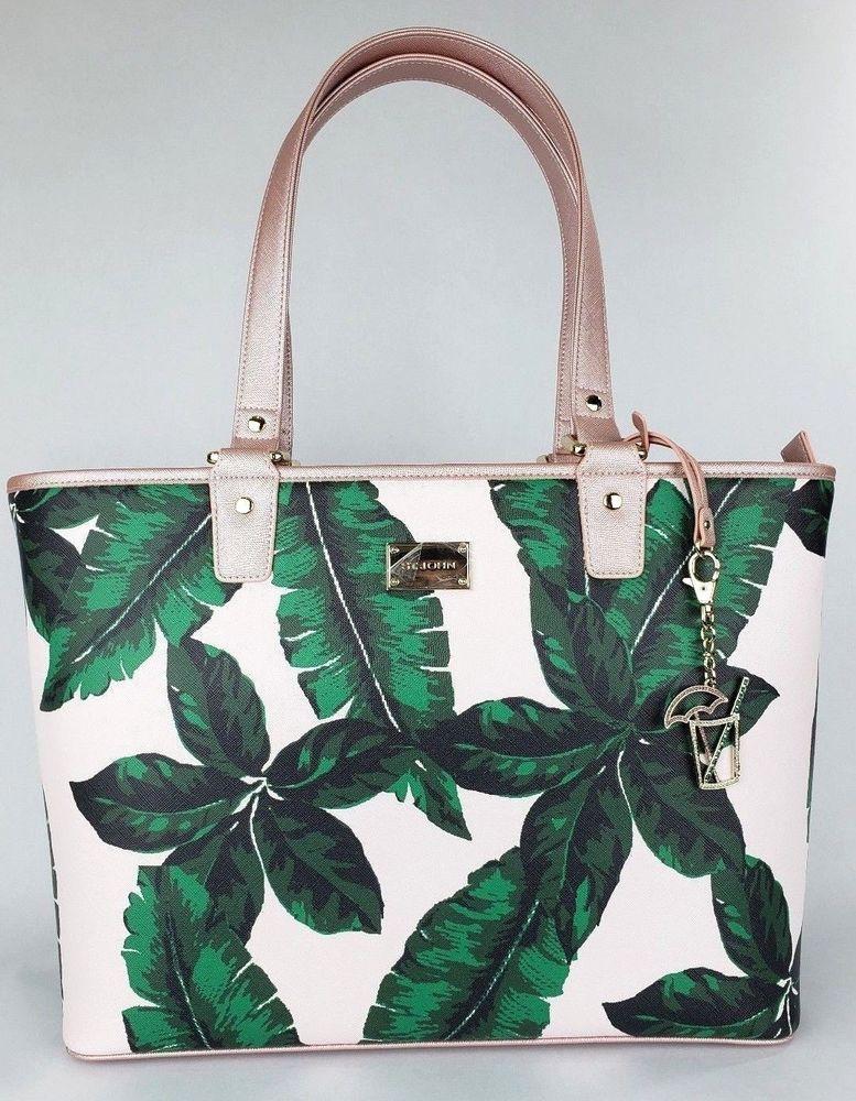 3376e71527 St. John Large Metallic Pink Green Palm Leaves Design Tote Shoulder Bag NWT   STJOHN  Tote