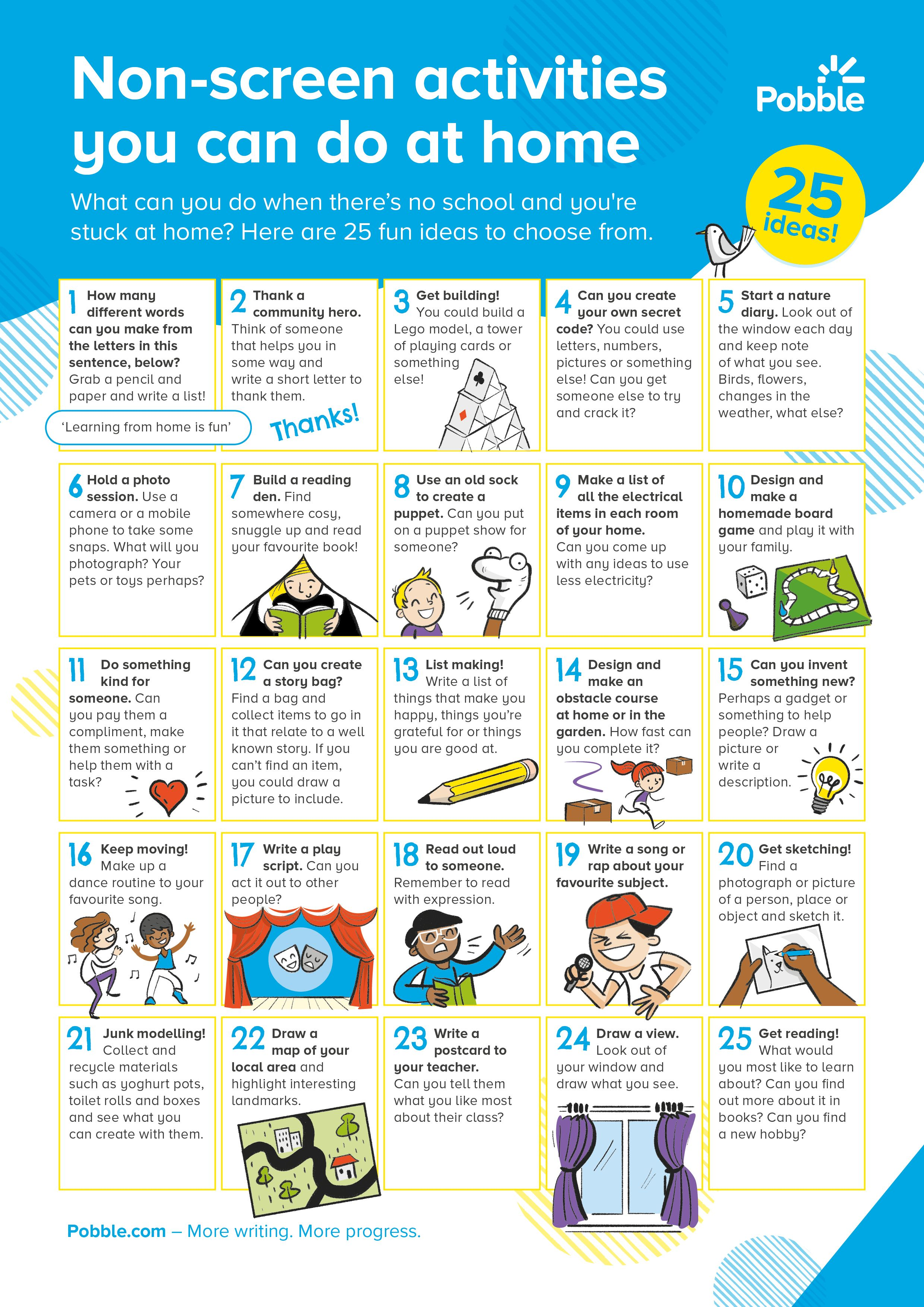 Simple And Fun Non Screen Activities That Children Can Do At Home Learning Activities Wellbeing Activities Kids Schedule