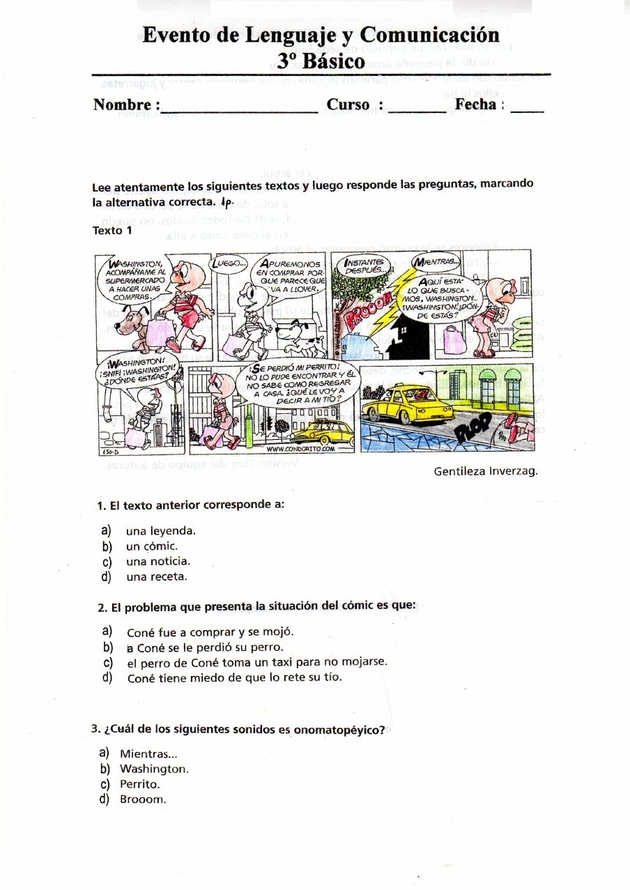 Prueba Lenguaje Comic Noticia Tercero Básico Prueba De