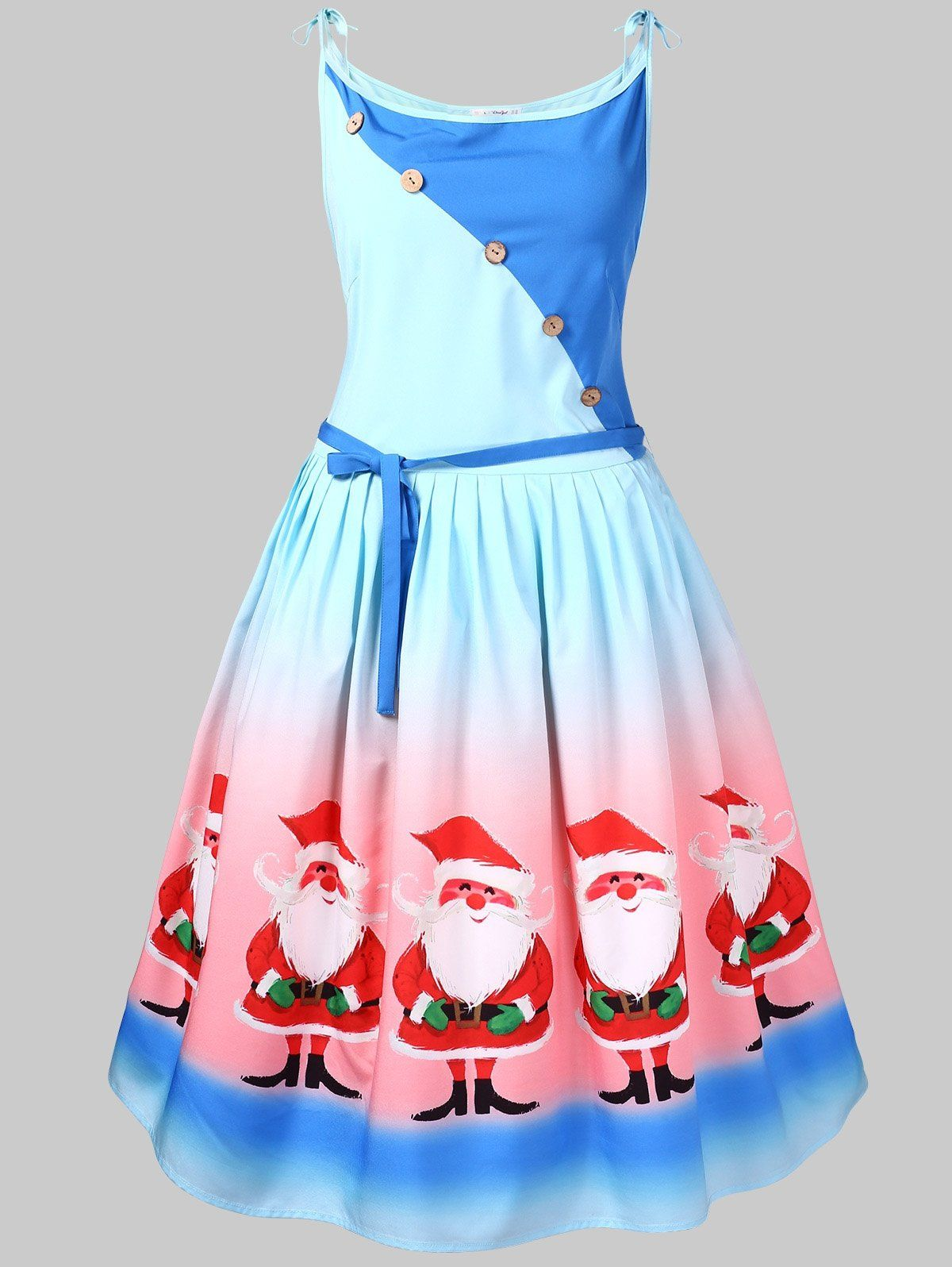 a2ccb2a73a Plus Size Santa Claus Print Christmas Flare Dress