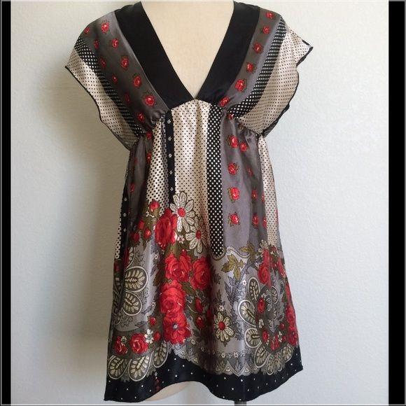 Carolina Floral Satin-like Tunic/VNeck Dress/Top XLNT COND! Carolina Made in USA Carolina USA Tops Blouses