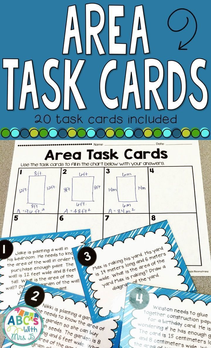 Area Task Cards: Word Problems   Word problems, Students and Math