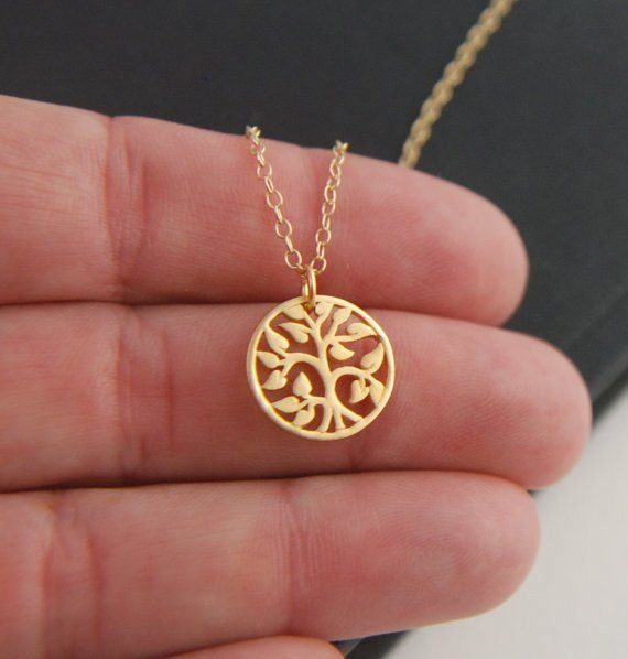 18K Gold Family Tree Necklace Gold Pendant Necklace,Gold necklace, Tree of Life Pendant Necklace
