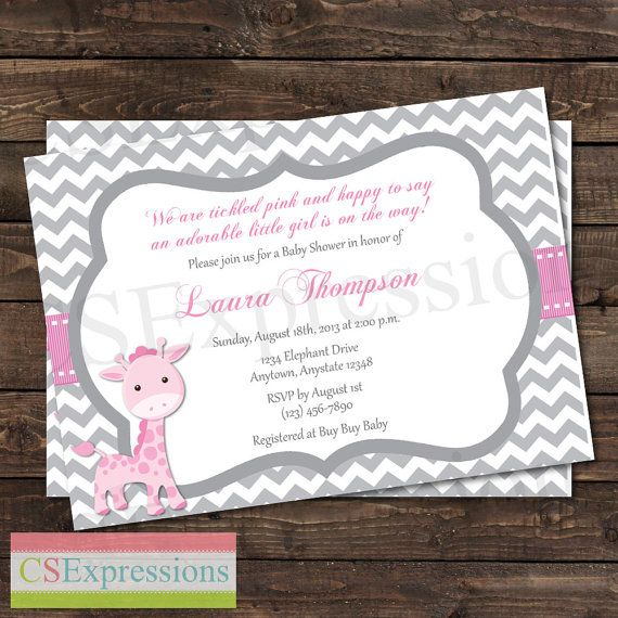 Pink and Gray Chevron Giraffe Baby Shower invitation by CSExpressions
