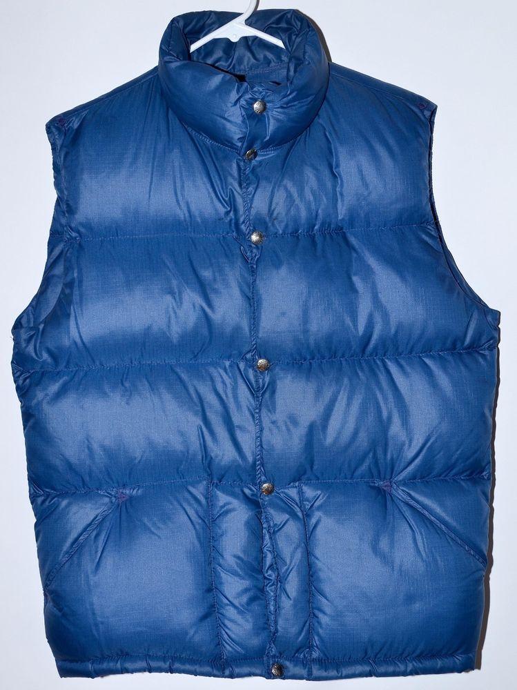 487b93e53 Vintage 70's The North Face Blue Puffer Goose Down Vest Men's Large ...