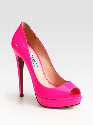 2f2b8460262f Prada - Patent Leather Peep Toe Pumps in Pink  LoveIt Hot Pink Heels