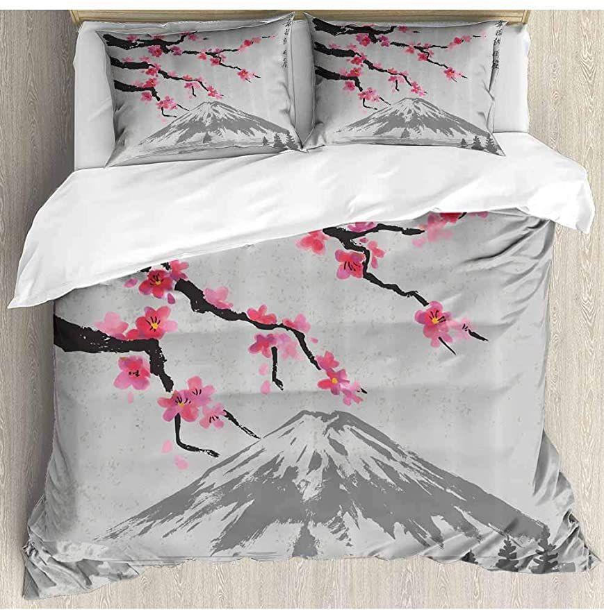 Prunushome Cotton Bedding Sets Fujiyama Cherry Blossoms Print Design 1 Duvet Cover 2 Pillowcases Zipper Clos Cotton Bedding Sets Quilt Cover Bedding Sets