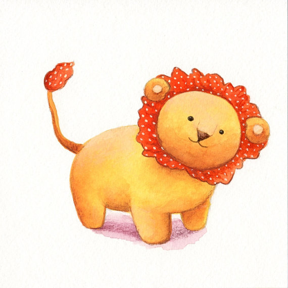 Nursery Art Toy Lion print from an original watercolor by TinyRed - Etsy