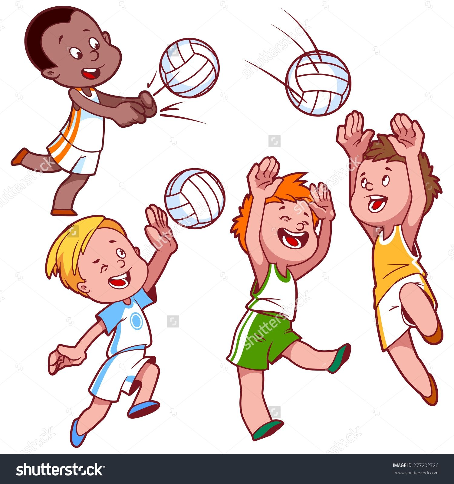 529430863 Stock Vector Cartoon Kids Playing Volleyball Vector Clip Art Illustration On A White Background 277202726 Jpg 1500 Cartoon Kids Kids Clipart Cartoon
