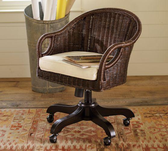 Wingate Rattan Swivel Desk Chair Chair Office Chair Cushion