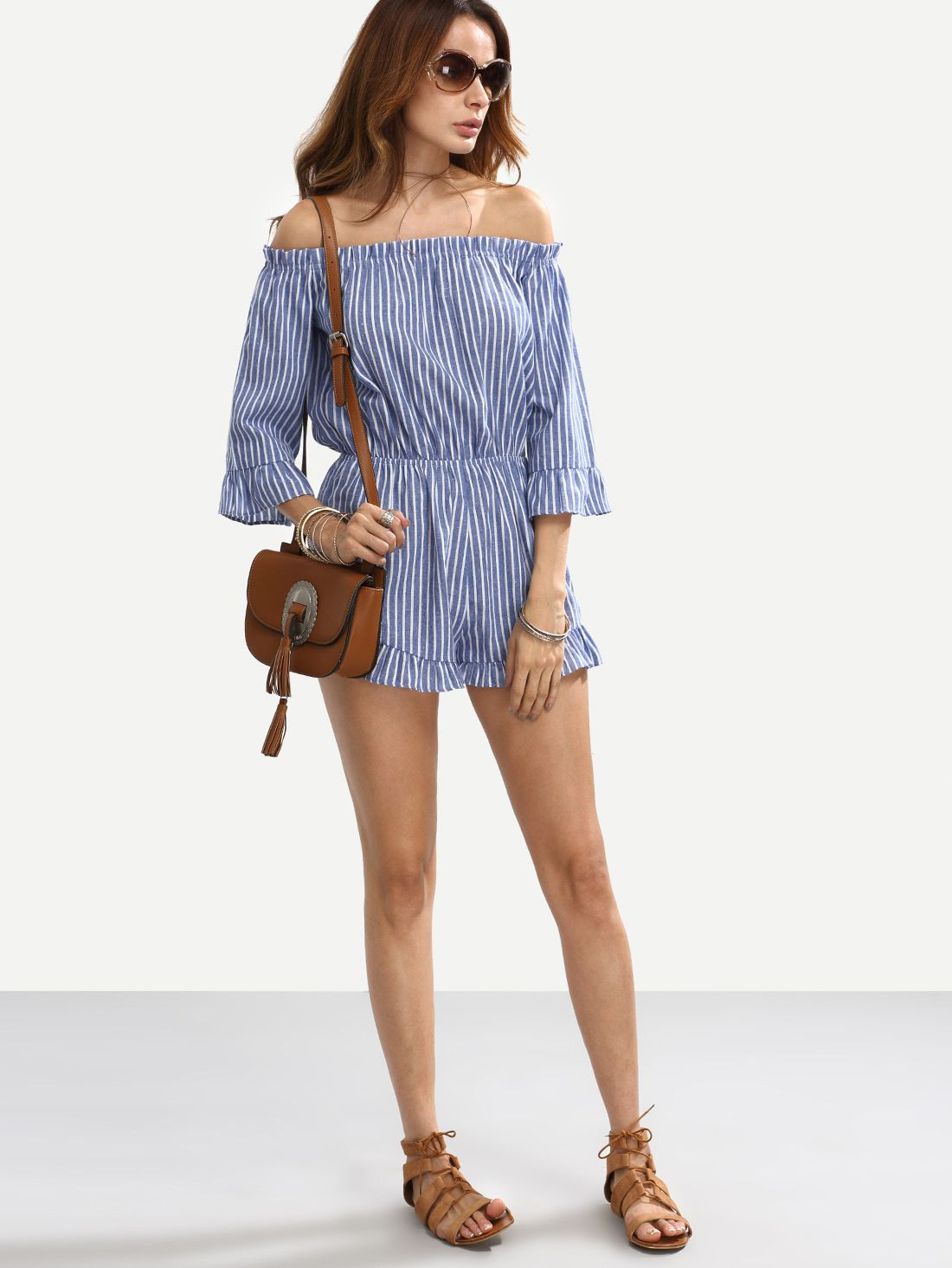 5a5d6d2e299 Shop Striped Off The Shoulder Flounce Jumpsuit online. SheIn offers Striped  Off The Shoulder Flounce Jumpsuit   more to fit your fashionable needs.