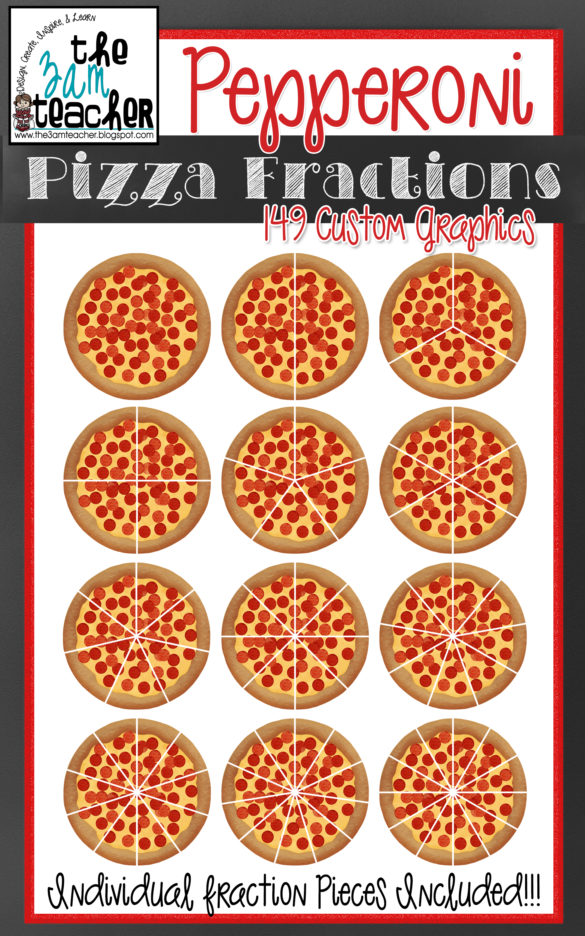 Yummy Pepperoni Pizza Fractions Clip Art Set