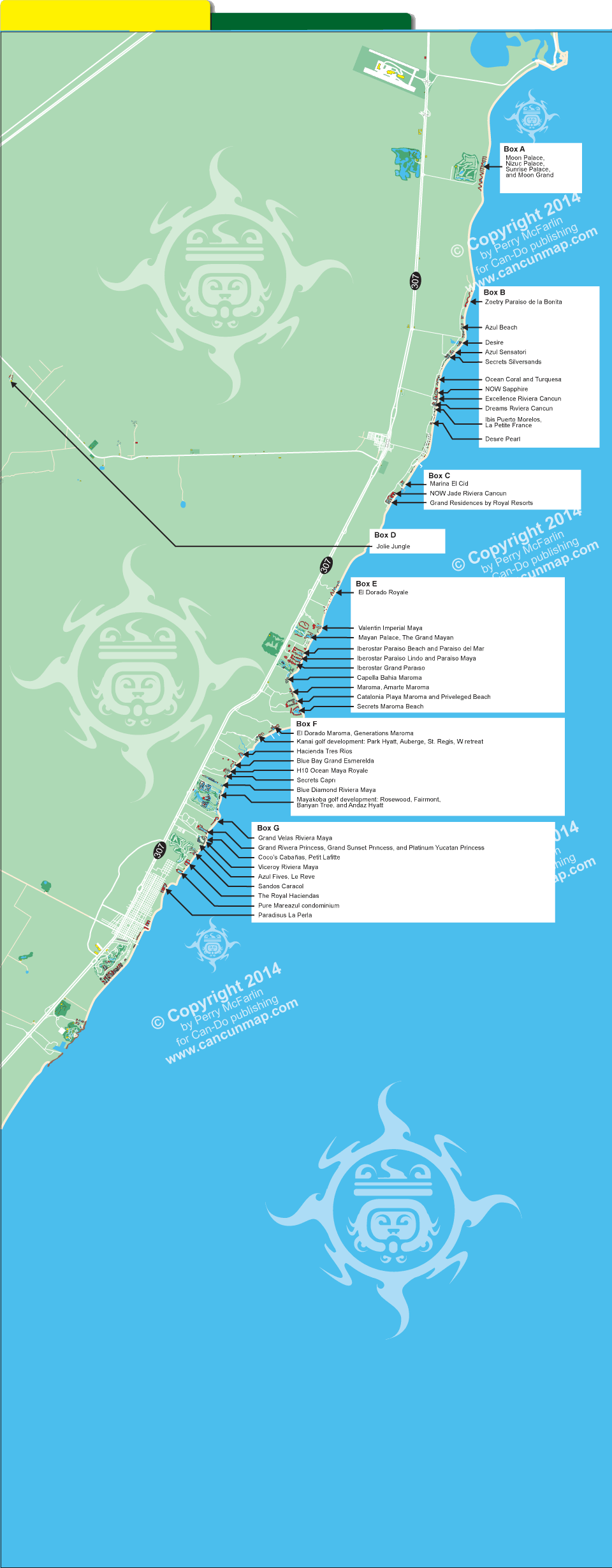 Map Of Downtown Isla Mujeres Hotel Locations. Mexico