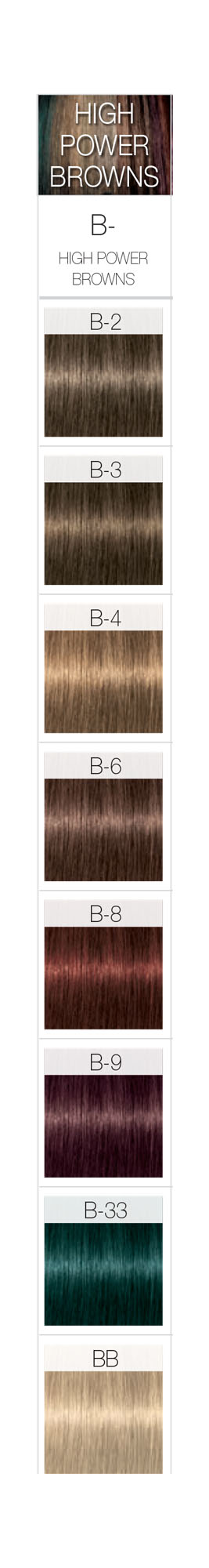 Schwarzkopf Professional Igora Royal High Power Browns Color Chart Schwarzkopf Hair Color Schwarzkopf Color Chart
