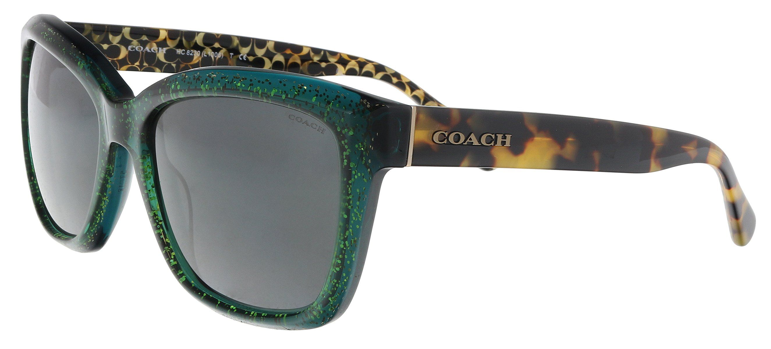 Coach HC8230 550687 Emerald Glitter Rectangle Sunglasses