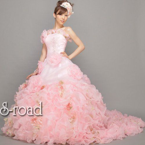 Amazon.co.jp: ウェディングドレス 披露宴 ピンクフリルとお花のスイートプリンセスライン ウエディングドレス カラードレス: 服&ファッション小物通販