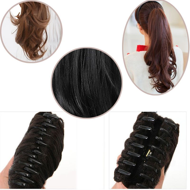 Snoilite Women Claw On Ponytail Clip In Pony Tail Hair Extensions