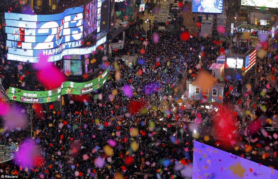 revelers in times square welcomed in 2013 with a spectacular display of fireworks and confetti as new year