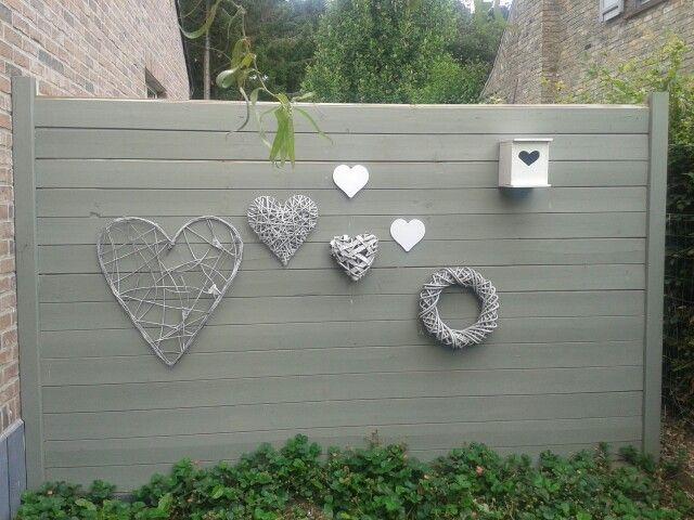 Muur decoratie voor buiten tuin pinterest muur for Buitenmuur decoratie