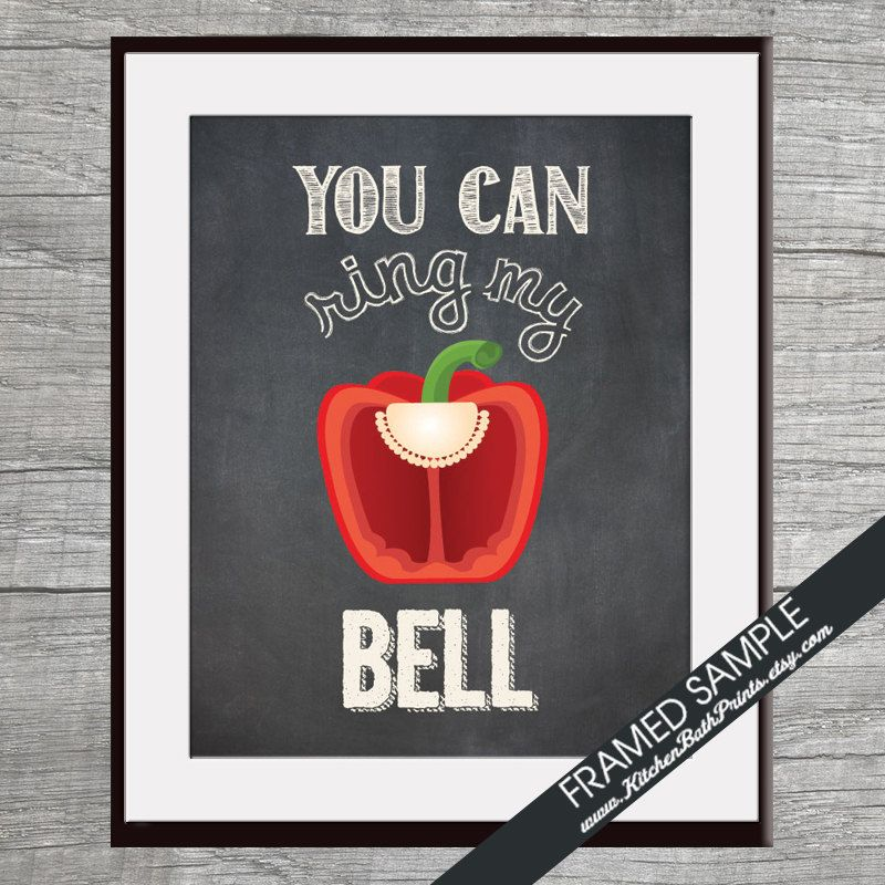 You Can Ring My Bell Bell Pepper Art Print Funny Kitchen Song Series Featuring On Vintage Chalkboard Kitchen Art Prints With Images Kitchen Art Prints Vintage Chalkboard Kitchen Art