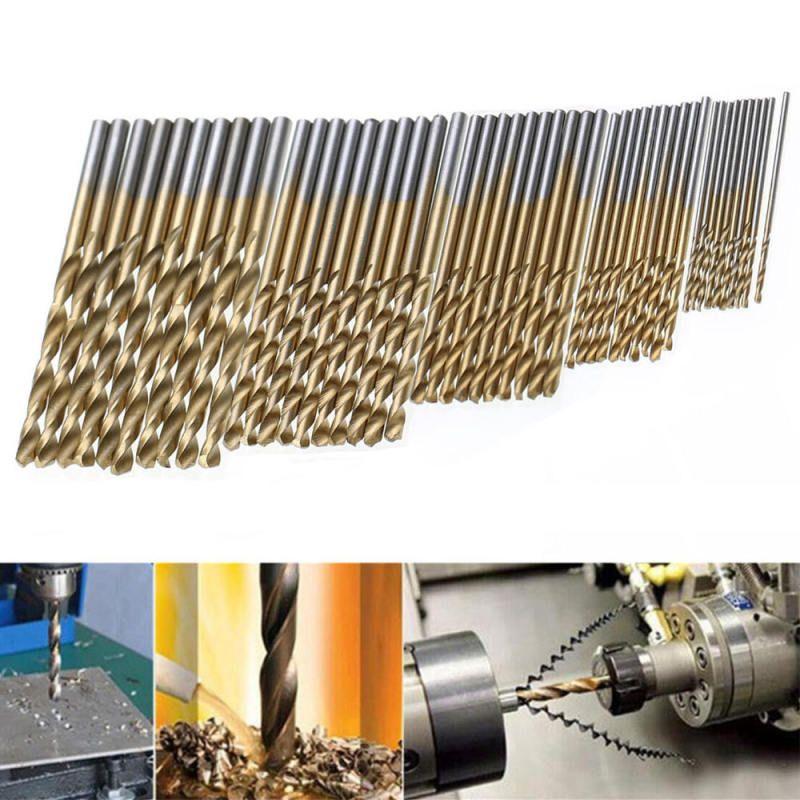 50pcs Drill Bit Set Titanium Coated HSS High Speed Steel Hex Shank Quick Change