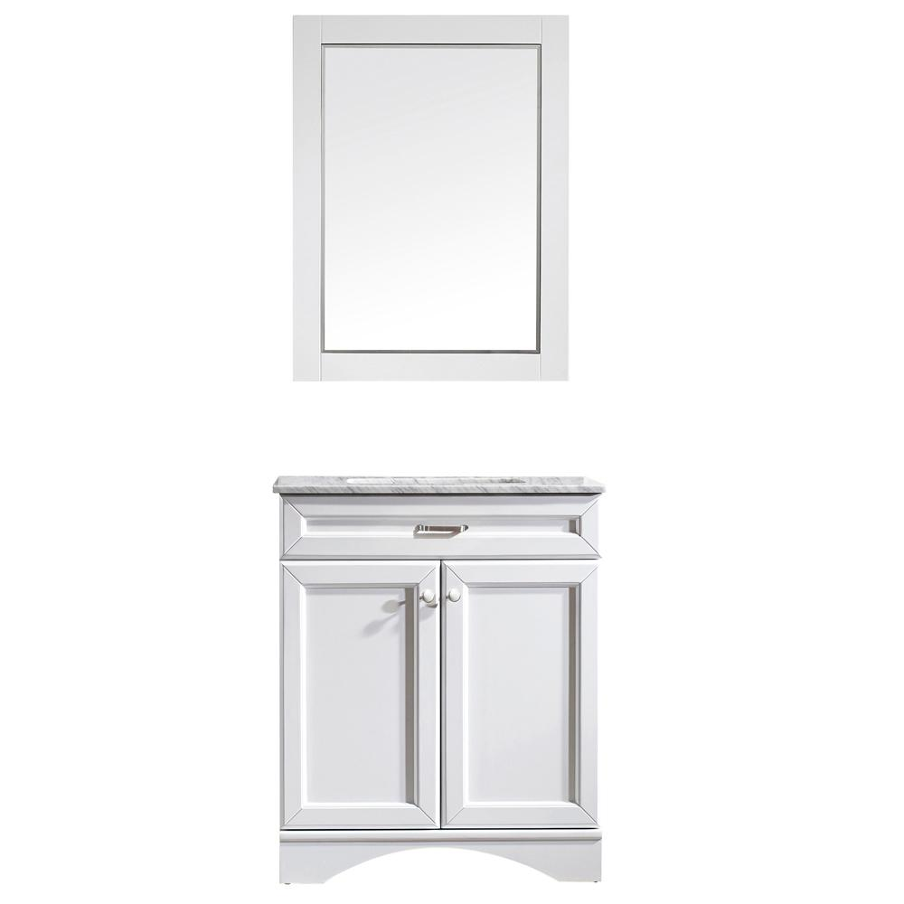 Roswell Naples 30 In W X 22 In D X 35 In H Vanity In White With Marble Vanity Top In White With Basin And Mirror 710030 Wh Ca Marble Vanity Tops Vanity 30 Inch Vanity