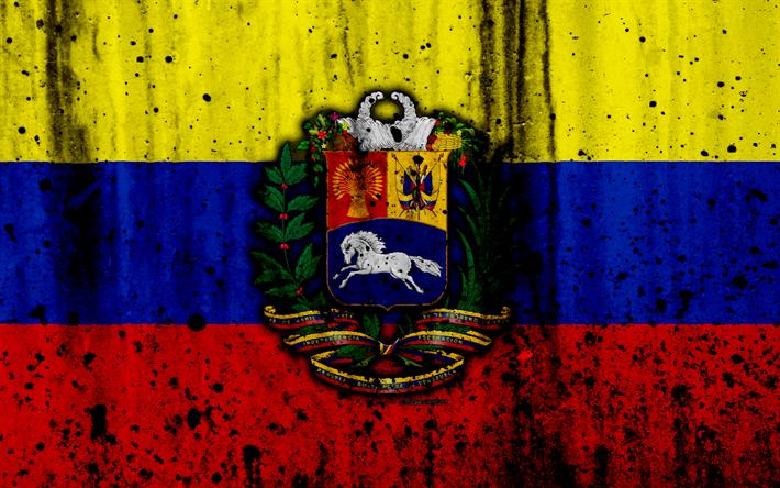 Download Wallpapers Venezuelan Flag 4k Grunge Flag Of Venezuela South America Venezuela National Symbols Coat Of Arms Of Venezuela Venezuelan Coat Of Ar Venezuela Flag Venezuelan Flag National Symbols