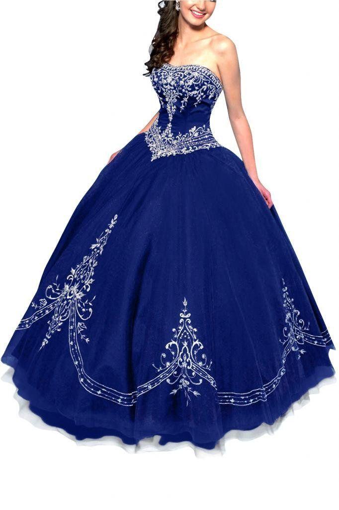 101def825 Noble azul real sin tirantes ata para arriba detrás Tulle piso longitud  vestido de quinceañera con bordado en Vestidos de Quinceañera de Bodas y  Eventos en ...