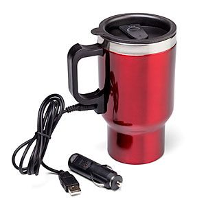 Dual Heated Travel Mug Keeps Your Coffee Hot Plug It Into Cigarette Lighter In The Car Or Usb Port At Office Thinkgeek