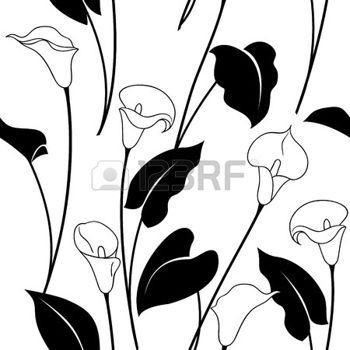 Fleurs Dessin Lily Seamless Pattern Avec Calla Noir Et Blanc Fleurs