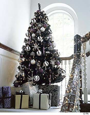 white and silver decorations on black Christmas tree - Black Christmas Trees Holidays: Christmas Pinterest Christmas