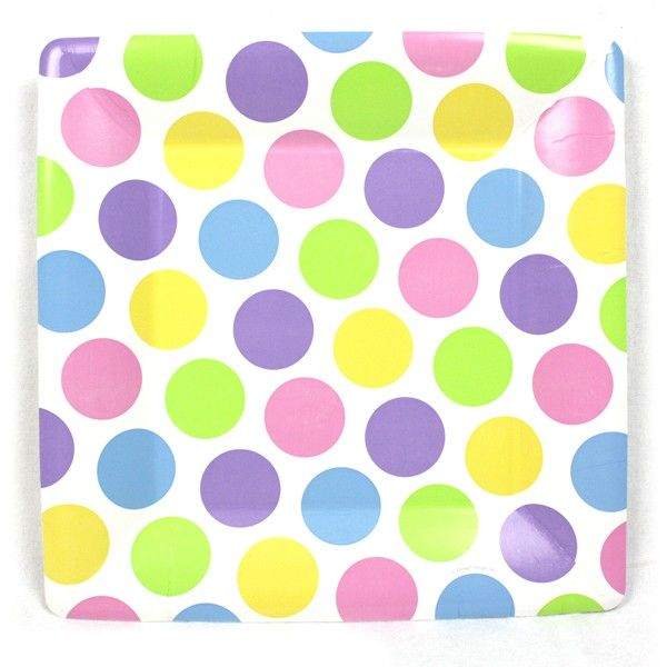 Mixalicious Pastel 10 Inch Square Paper Plate Square Paper Paper Plates Polka Dot Paper