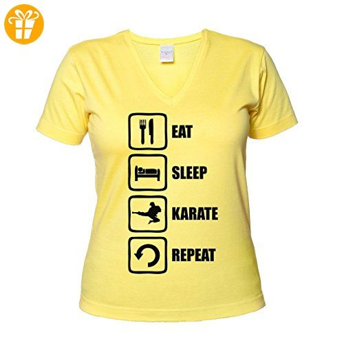 Eat Sleep Karate Repeat Martial Arts Graphic Women's V-Neck T-Shirt XX-Large (*Partner-Link)