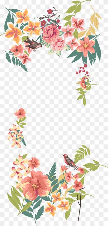 Design Floral Euclidiano De Flores Bordas De Flores Pintadas A Mao Ilustracao De Rosas Cor De Rosa E B Flores Vectorizadas Flores Pintadas Flores Vintage Png