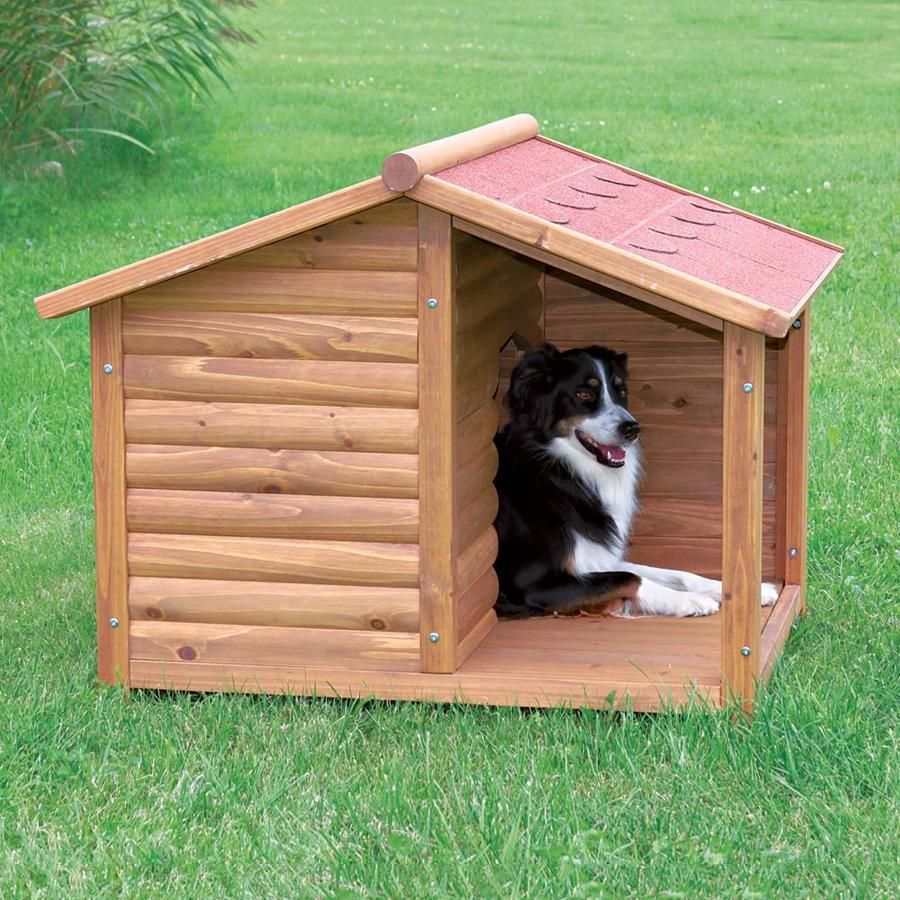 Trixie Pet Products 3 27 Ft X 3 44 Ft X 4 25 Ft Wood Large Dog House Lowes Com Dog House Diy Large Dog House Rustic Dog Houses