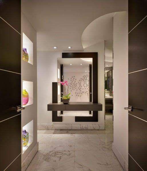 salas modernas recibidores diseos casas modernas escaleras modernos pasillos tocadores pequeos tocador bao