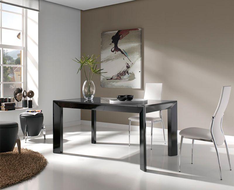 Mesa de comedor blanco lacado o negro medidas 150 x 90 x for Mesa comedor lacada blanca extensible