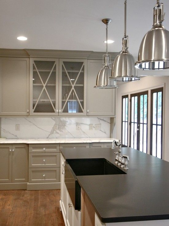 Dark Island With Light Counter Tops Grey Kitchen Cabinets Design - Light grey kitchen cabinets with black island