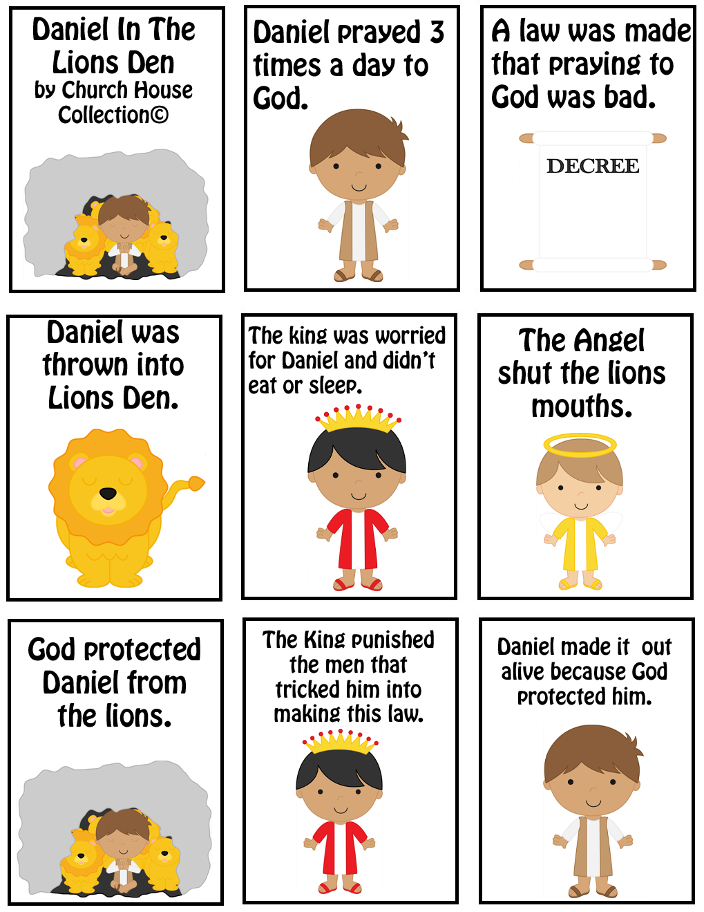 daniel in the lions dens mini book printable angels pinterest