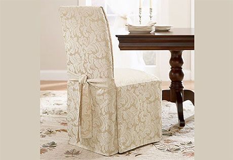 8  Sure Fit Slipcovers Scroll Long Dining Chair Cover  Dining Best Slipcovers For Dining Room Chair Seats Design Inspiration